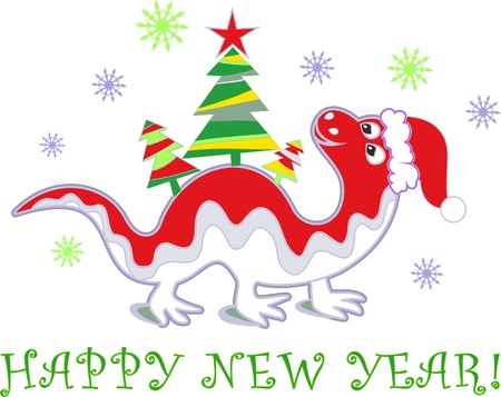 Chinese New Year dragon with Christmas tree Vector