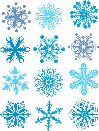 Snowflakes collection, element for design, vector illustration  Illustration