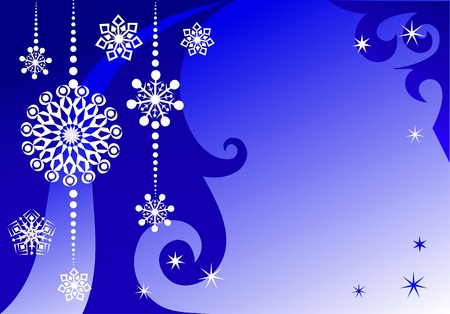 christmas motif:  Winter New Year background with snowflakes