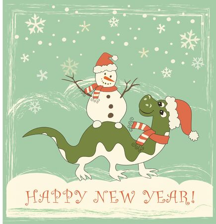 New Year card. Dragon with snow man