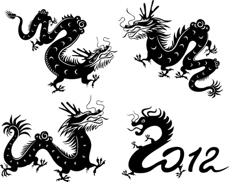 Dragon's collection. Chinese zodiac symbol. Vector