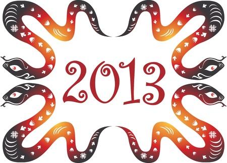 snake year: Serpiente a�o 2013. S�mbolo del zodiaco chino. Vectores
