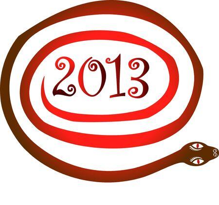 snake year: A�o 2013 Serpiente s�mbolo del zodiaco chino Vectores
