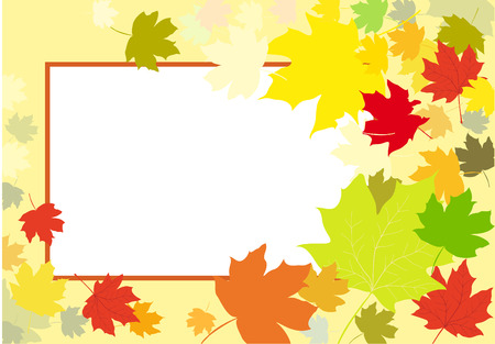 Autumn leaves frame abstract background