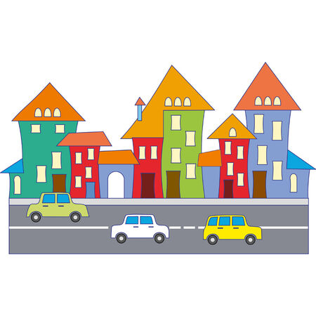 Cartoon town Ilustrace