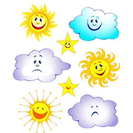 soleil rigolo: Cartoon fun soleil, �toile, nuage