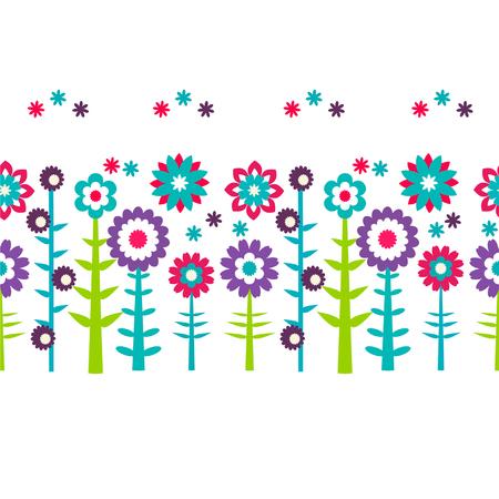 Summer flowers  pattern background Illustration