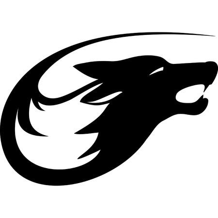 black wolf: Tribal  wolf   Illustration