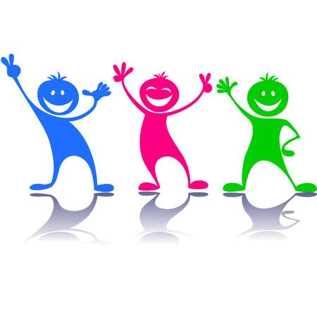 Cartoon colorful happy people,children