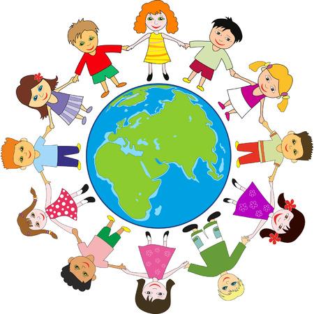 Children holding for hands around planet Ilustrace