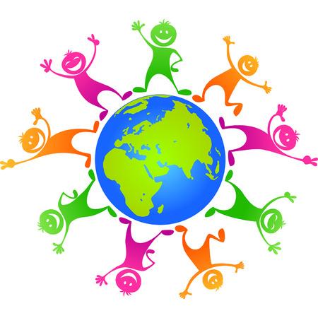 Children  around planet
