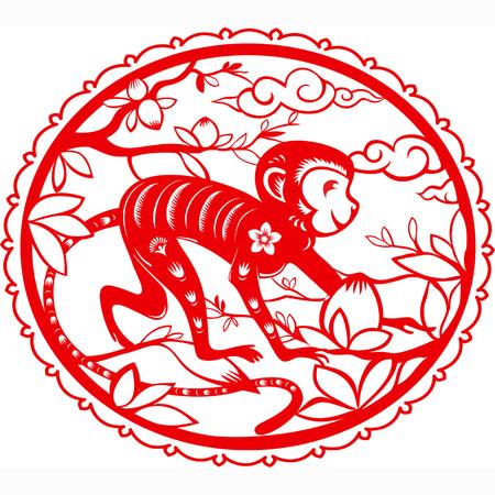 Monkey. Symbol of 2016 New Year. Illustration