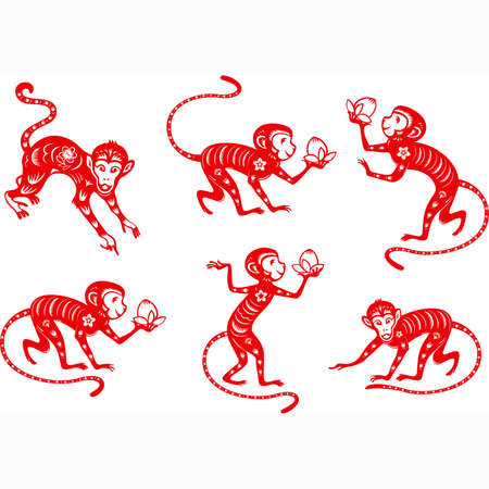 Monkey year 2016. Chinese paper cut collection.