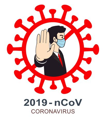 A men in a protective mask shows his hand the stop to Mers Corona Virus, MERS-COV Illustration