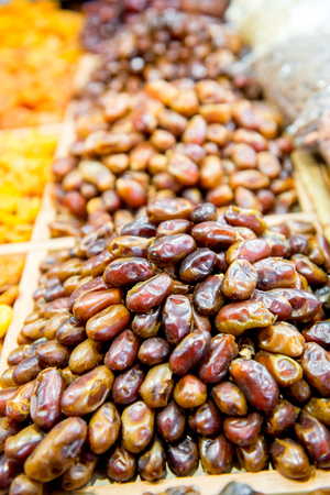 air dried: Background of dried dates fruit, at the open air market