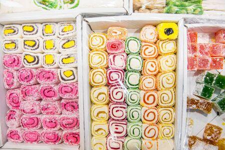 baklawa: Eastern sweets in a wide range, baklava, Turkish delight. Stock Photo