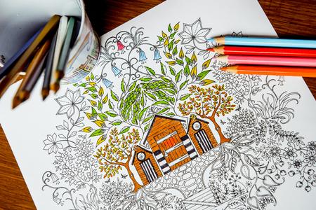 autocuidado: Antiestrés libro para colorear en el proceso de dibujo. Mujer pinta el razukrashki sobre la mesa son lápices de colores, y el té, el café