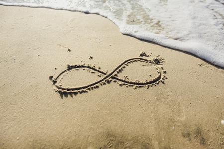 Oneindigheidssymbool geschreven op zand op het strand, oceaan