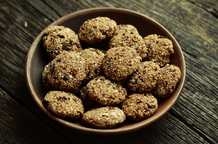 Applesauce oatmeal cookies with dried cranberries. Natural food, healthy food Stock Photo