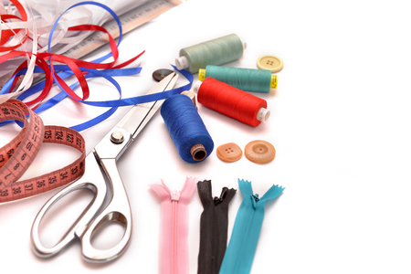 Set of different sewing accessories,fabrics and thread spools Stock Photo