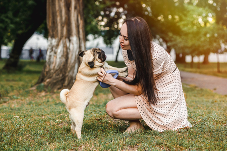 Girl playing with her dog pug in the summer park