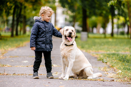 Portrait of cute adorable little Caucasian baby boy sitting with dog in park outside. Smiling child holding animal domestic pet. Happy childhood concept