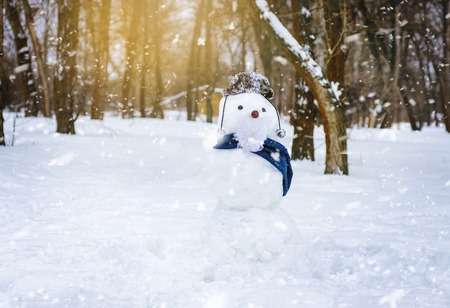 Sculpture of snow. Funny snowman in a hat in the park 스톡 콘텐츠
