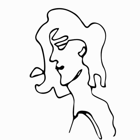 Fashionable portraits in one line. Woman profile isolated on a white background