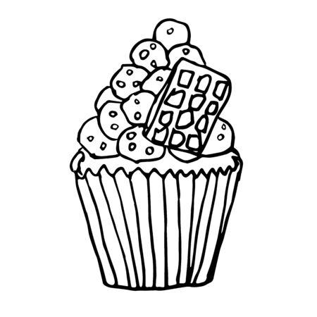 Vector cartoon cupcake with marshmallow cream, chocolate bar Vectores