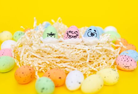 Funny eggs with eyes, masked for Easter. Nest with funny three eggs