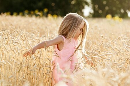 Carefree little girl standing in wheat field, enjoying nature beauty, happy childhood