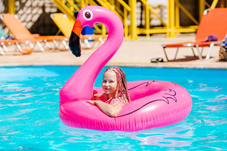 Girl swims on an inflatable flamingo Standard-Bild