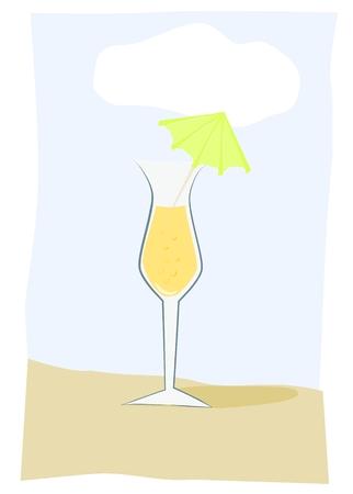 Summer drink on beach Vector