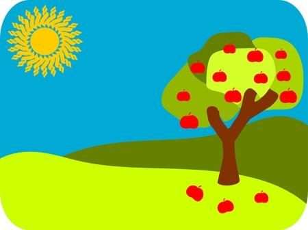 appletree: Abstract apple tree in green landscape Illustration