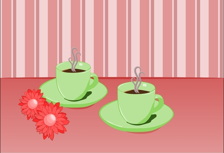 morning rituals: Two cups of coffee in pink setting