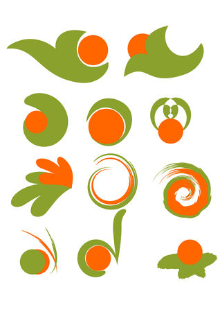 Set of green and orange design elements Stock Vector - 3696886