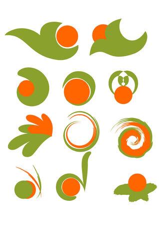 Set of green and orange design elements Vector