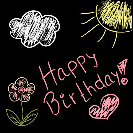 Birthday doodles on black blackboard with handwritten text