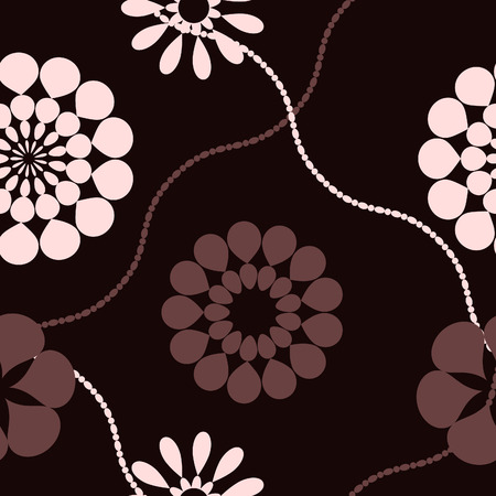 textile image: Pink and brown retro flowers seamless pattern