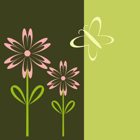 Fashionable pink flowers and a butterfly on dark green background Stock Vector - 4460964