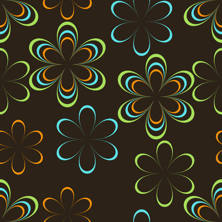 Colorful line art flowers seamless background pattern Vector