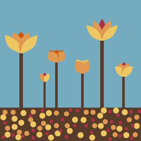 autumn flowers: Retro autumn flowers background Illustration
