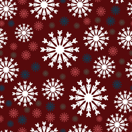 White, blue and red snowflakes seamless pattern Stock Vector - 5586829