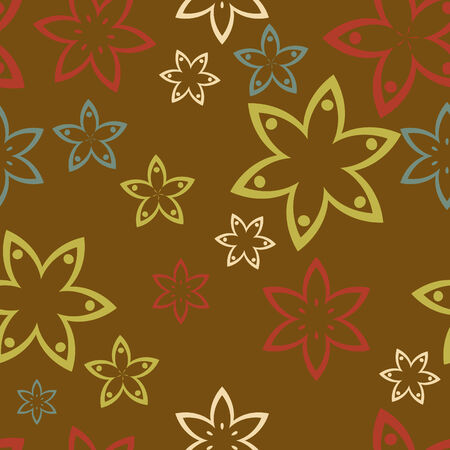 Colorful retro flowers on brown background Stock Vector - 5586808