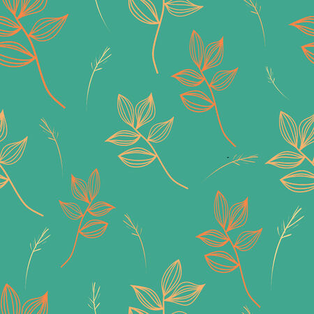 Orange and green retro seamless flower pattern. Vector