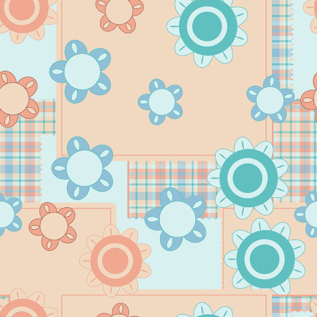 Pink and blue baby plaid and flower pattern Stock Vector - 5586820