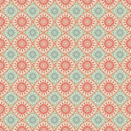 Red and blue retro flower seamless pattern. Stock Vector - 5612177