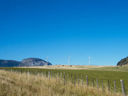 Wind turbines located just outside Coyhaique in southern Chile