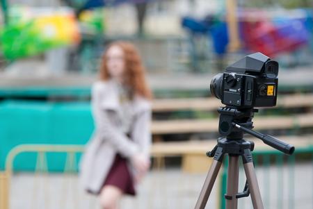 format: Portrait Shooting on the film medium format camera Stock Photo