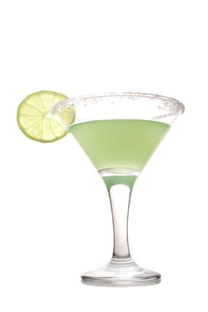 green cocktail with lime isolated on white background photo